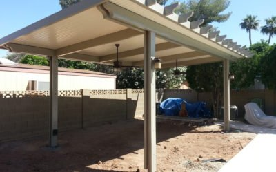 Freestanding Patio Cover – Alumawood Solid Patio Cover Installed in Mesa, AZ (Under Construction)